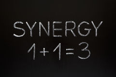 Synergy Concept on Blackboard. Synergy concept 1+1=3 made with white chalk on a blackboard Royalty Free Stock Photos