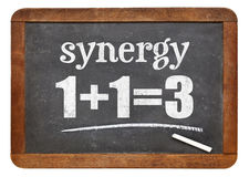 Synergy concept on blackboard Royalty Free Stock Photos