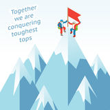Synergy concept. Business mountain climbing in Stock Photos