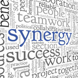 Synergy concept in word tag cloud Stock Images