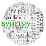 Synergy concept in word tag cloud Stock Image