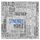 Synergy concept in word tag cloud Stock Photos