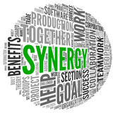 Synergy concept in word tag cloud Royalty Free Stock Images