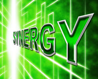 Synergy Energy Shows Work Together And Collaboration Royalty Free Stock Image