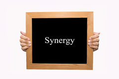 Synergy. Hand write Synergy word concept Stock Photography