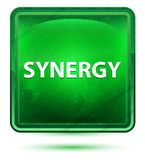 Synergy Neon Light Green Square Button vector illustration