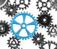 Synergy. Many Cogwheels Engaged 3D Illustration on White Background royalty free illustration