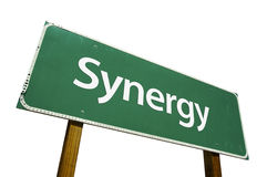 Synergy road sign stock image