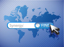 Synergy search world map illustration Royalty Free Stock Photography