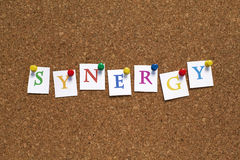 SYNERGY. Single letters pinned on cork noticeboard Royalty Free Stock Images