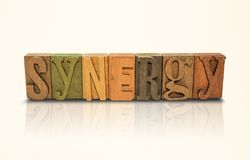 Synergy Word Block Letters - Isolated White Background Royalty Free Stock Photography