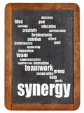 Synergy word cloud on blackboard Stock Images