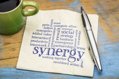 Synergy word cloud on napkin. Synergy word cloud - handwriting on a napkin with a cup of coffee Royalty Free Stock Image