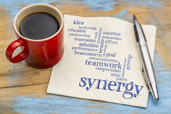 Synergy word cloud on napkin with coffee Royalty Free Stock Images
