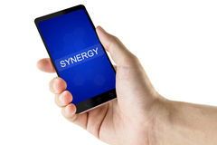 Synergy word on digital smart phone Royalty Free Stock Photography