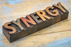 Synergy word in wood type. Synergy word in vintage letterpress wood type printing blocks stained by color inks Royalty Free Stock Images