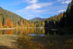 Synevyr mountain lake in Carpathian mountains, Ukraine Stock Photography