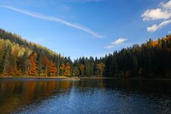 Synevyr mountain lake in Carpathian mountains, Ukraine Royalty Free Stock Images