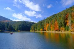 Synevyr mountain lake in Carpathian mountans, Ukraine Royalty Free Stock Photography