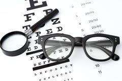 Synförmågaprovet med den svarta lilla förstoringsapparaten, svarta exponeringsglas och snellen diagrammet Arkivbild