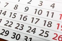 synlig dag för kalenderjulcloseup fotografering för bildbyråer