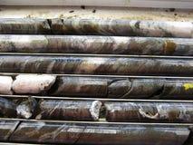 Synliga guld och sulfider i ArchaeanGreenstone vaggar - Australien arkivbilder