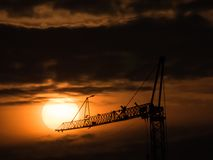 Sunset on the construction site stock photos