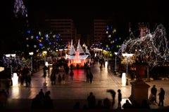 Syntagma kwadrat podczas Bożenarodzeniowej nocy w Ateny Zdjęcie Stock