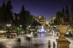 Syntagma Square in downtown Athens Stock Photos