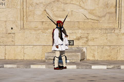 Syntagma Square Athens, greek evzones. Syntagma Square Athens, Greece, greek evzones changing of the guard in front fo the parliament building Royalty Free Stock Photo