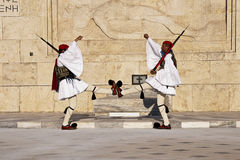 Syntagma Square Athens, greek evzones. Syntagma Square Athens, Greece, greek evzones changing of the guard in front of the parliament building Royalty Free Stock Photo