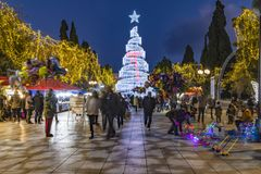 Syntagma square with christmas tree royalty free stock images