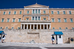 Syntagma Square and Evzones on August 4, 2013 in Athens, Greece. Stock Photography