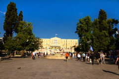 Syntagma Square with the Parliament of Greece at the background Stock Image