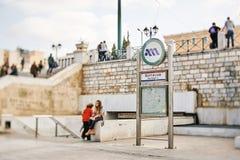 Syntagmafyrkant- och tunnelbanaingång i Aten, Grekland, Royaltyfria Foton