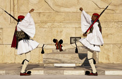 Syntagmen quadratisches Athen, griechische evzones Stockfoto