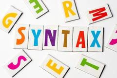 Syntaxe de Word faite de lettres colorées Photo libre de droits