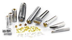 Syntetiska och naturliga diamanthjälpmedel fixade i olik metall ho Royaltyfri Bild