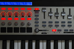 Synth detail background backdrop. Synth controls in detail closeup Royalty Free Stock Images