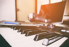 Synth keyboard in a music studio Royalty Free Stock Images
