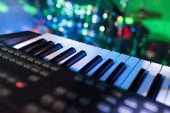 Synth keys in the light club lights royalty free stock photo