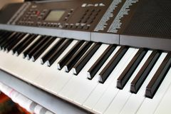 Synth keys of a musical instrument stock photography