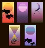 Vapor wave vector set of posters stock illustration
