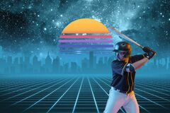 Synth wave and retro wave, vaporwave futuristic aesthetics. Sportsman in glowing neon style.