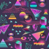 Synth Wave Seamless Pattern. Futuristic Background with Neon Glowing Geometric Elements. Holographic Design for Posters. Banners, Fabric. Vector illustration Stock Photography