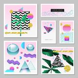 Synth Wave Tropical Poster Set. Futuristic Background with Geometric Elements. Holographic Design for Posters, Banners, Fabric. Vector illustration Stock Image