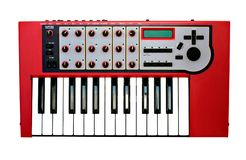 Synthesizer. Front view of a music synthesizer on white background Stock Photo