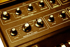 Synthesizer with cloe-up of modulation Royalty Free Stock Images