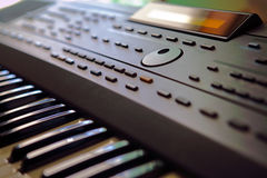 Synthesizer. Closeup view of a synthesizer keyboard Stock Photo