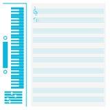 Synthesizer en muzikaal personeel stock illustratie
